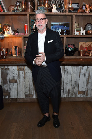 Nick Wooster wearing Navy Blazer, White Dress Shirt, Black Vertical Striped Chinos, Black Leather Oxford Shoes