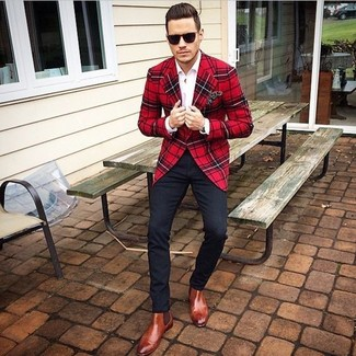 How to wear: red and black plaid wool blazer, white dress shirt, black chinos, tobacco leather chelsea boots