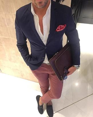 How to wear: black blazer, white dress shirt, pink chinos, dark brown suede tassel loafers