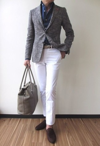 Consider pairing a grey wool blazer with a belt if you're going for a neat, stylish look. A good pair of dark brown suede loafers are sure to leave the kind of impression you want to give. It goes without saying that this one makes for a great, spring-friendly outfit.