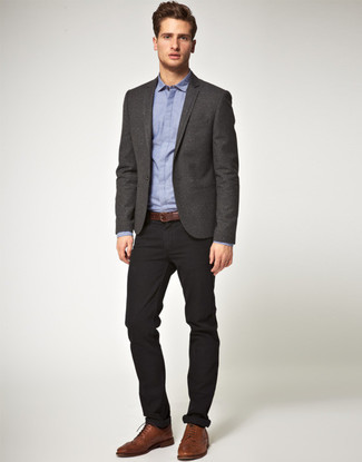 Men's Charcoal Blazer, Blue Dress Shirt, Black Chinos, Brown Leather Brogues