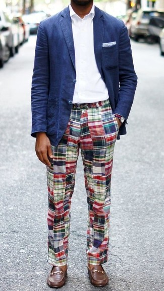How to wear: navy blazer, white dress shirt, multi colored plaid chinos, brown leather boat shoes