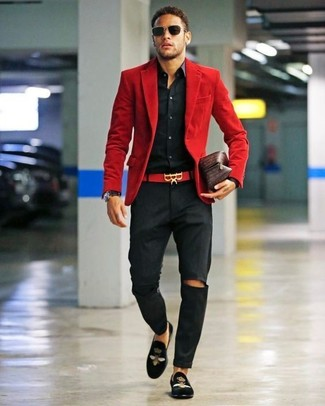 How to wear: red corduroy blazer, black dress shirt, black chinos, black embroidered velvet loafers
