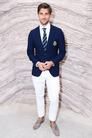How to wear: navy blazer, white dress shirt, white chinos, grey suede tassel loafers