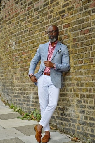 How to wear: grey blazer, white and red gingham dress shirt, white chinos, tobacco suede tassel loafers