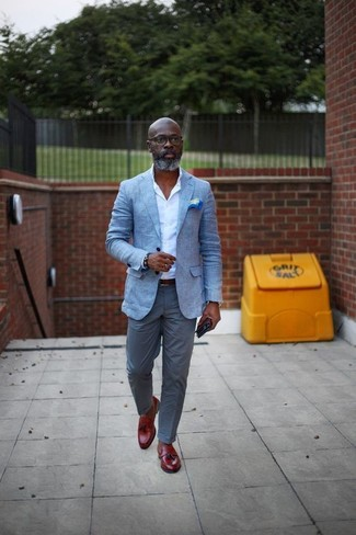 How to wear: light blue blazer, white dress shirt, grey chinos, red leather tassel loafers
