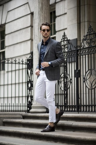 How to wear: charcoal check blazer, navy dress shirt, white chinos, black leather double monks