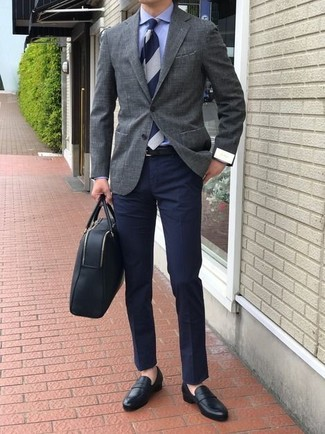 How to wear: grey blazer, blue dress shirt, navy chinos, black leather loafers