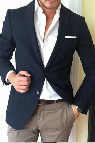 How to wear: black blazer, white dress shirt, brown chinos, white pocket square