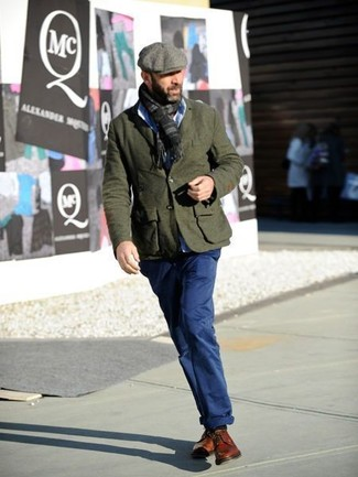 How to wear: olive wool blazer, light blue dress shirt, navy chinos, tobacco leather derby shoes
