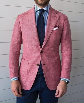 How to wear: pink blazer, white and navy vertical striped dress shirt, navy chinos, navy knit tie