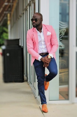 How to wear: pink blazer, white dress shirt, navy chinos, orange leather oxford shoes