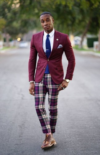 How to wear: burgundy blazer, white dress shirt, purple plaid chinos, brown leather brogue boots