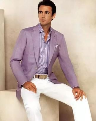 How to wear: purple blazer, purple vertical striped dress shirt, white chinos, white pocket square