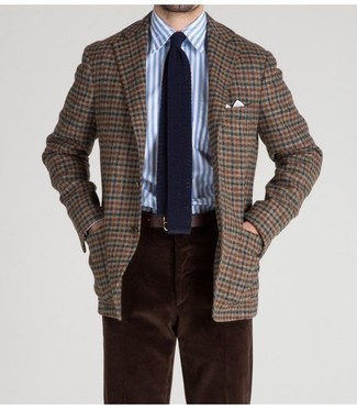 How to wear: brown check wool blazer, white and blue vertical striped dress shirt, dark brown corduroy chinos, navy knit tie