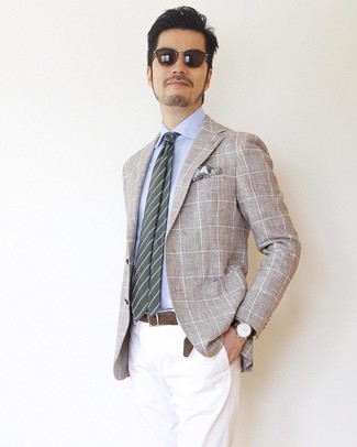 How to wear: beige check blazer, light blue dress shirt, white chinos, olive horizontal striped tie