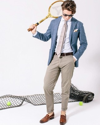 How to wear: blue blazer, white dress shirt, beige chinos, brown leather loafers
