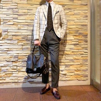 How to wear: white check blazer, white dress shirt, charcoal chinos, burgundy leather tassel loafers