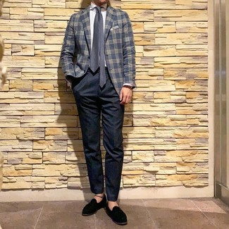 How to wear: navy plaid blazer, white vertical striped dress shirt, navy chinos, black suede tassel loafers