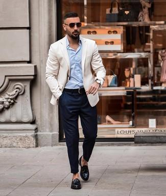 How to wear: white blazer, light blue dress shirt, navy chinos, black leather tassel loafers