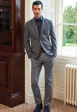 How to Wear a Grey Check Wool Blazer For Men: The pairing of a grey check wool blazer and grey chinos makes for a really put together getup. Let your outfit coordination expertise truly shine by finishing your ensemble with navy suede desert boots.