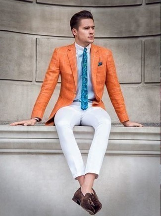 How to Wear Tassel Loafers: For an effortlessly classic look, reach for an orange check blazer and white chinos — these two pieces go pretty good together. Puzzled as to how to complete this look? Rock tassel loafers to bump it up.