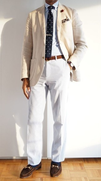 White Corduroy Chinos Outfits: A beige blazer and white corduroy chinos matched together are a perfect match. Inject this look with an added touch of sophistication by rocking dark brown suede loafers.