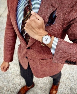 How to Wear a Red Horizontal Striped Tie For Men: We love the way this combo of a burgundy blazer and a red horizontal striped tie immediately makes you look sophisticated and stylish. Tobacco leather double monks pull the outfit together.