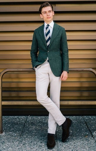 How to Wear a Navy and White Horizontal Striped Tie For Men: This polished combination of a dark green blazer and a navy and white horizontal striped tie is really a statement-maker. A pair of dark brown suede loafers integrates brilliantly within plenty of combos.
