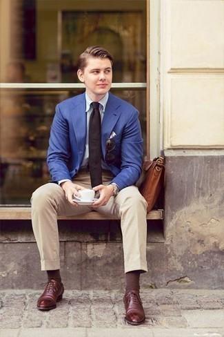 Color tie navy blazer Men's Suit