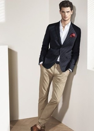 How to Wear Brown Leather Derby Shoes: This combo of a black blazer and khaki chinos will cement your expertise in men's fashion. To add a bit of flair to your outfit, complement this ensemble with a pair of brown leather derby shoes.
