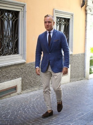 How to Wear a Dark Brown Polka Dot Tie For Men: We're loving how this combination of a blue blazer and a dark brown polka dot tie instantly makes you look elegant and sharp. If you're puzzled as to how to finish, a pair of dark brown suede loafers is a smart pick.