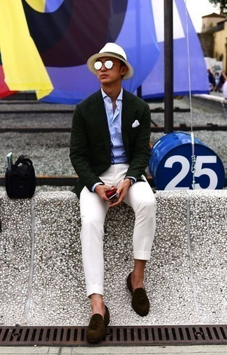 How to Wear a Dark Green Blazer For Men: A dark green blazer and white chinos are among the foundations of a smart closet. Complement your outfit with a pair of dark brown suede tassel loafers to change things up a bit.