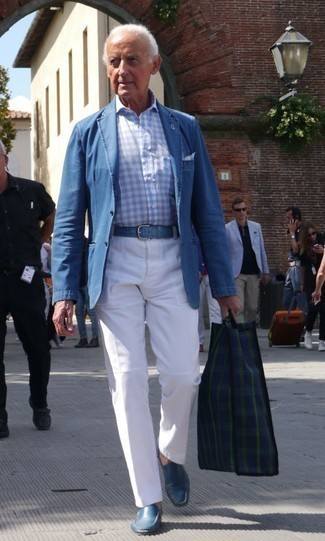Men's Looks & Outfits: What To Wear In 2020: This ensemble clearly shows it pays to invest in such menswear pieces as a blue denim blazer and white chinos. Blue leather loafers are guaranteed to give an extra touch of style to your ensemble.