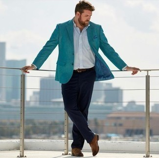 How to Wear a Blue Pocket Square In Spring: You'll be amazed at how easy it is for any gent to put together a city casual getup like this. Just a teal blazer and a blue pocket square. Complete your look with brown leather desert boots to completely switch up the outfit. If you're searching for an easy-to-transition ensemble, this one fits the bill.