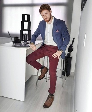Men's Looks & Outfits: What To Wear In Spring: For an outfit that's casually classic and wow-worthy, team a navy blazer with burgundy chinos. This look is complemented wonderfully with brown leather desert boots. When spring is here, you'll love this combination as your go-to for transitional weather.
