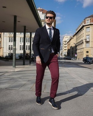 Burgundy Wax Coated Wide Leg Chinos