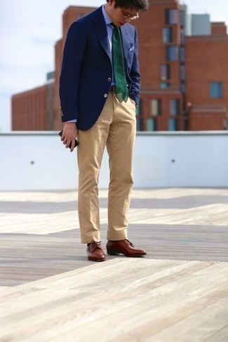How to Wear Brown Leather Derby Shoes: Go for a navy blazer and khaki chinos and you'll put together a proper and sophisticated look. Feeling venturesome today? Class up your ensemble by rounding off with a pair of brown leather derby shoes.