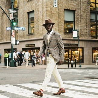 White Print Tie Outfits For Men: A grey plaid blazer looks so elegant when paired with a white print tie for a look worthy of a true gent. On the footwear front, this look pairs brilliantly with brown leather double monks.