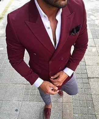 White Dress Shirt Outfits For Men: A white dress shirt and light blue chinos are an easy way to inject some rugged elegance into your casual styling lineup. Clueless about how to round off your getup? Wear burgundy leather tassel loafers to dial it up.