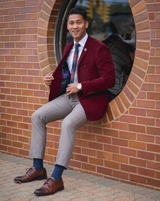 Grey Chinos Outfits: A classic and casual combination of a burgundy corduroy blazer and grey chinos can be relevant in many different circumstances. To bring some extra zing to this look, add a pair of brown leather derby shoes to your look.