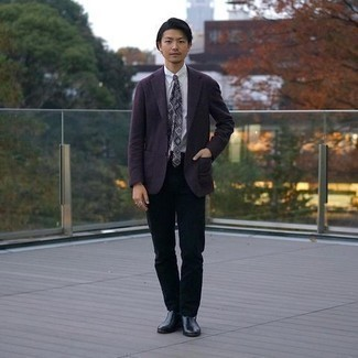 Black Chinos Outfits: Try pairing a violet blazer with black chinos if you're going for a proper, stylish getup. Not sure how to round off your outfit? Round off with black leather chelsea boots to kick up the fashion factor.