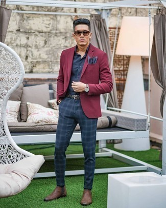 Brown Leather Chelsea Boots Outfits For Men: A burgundy blazer and navy plaid chinos will add extra style to your current wardrobe. Brown leather chelsea boots will give an extra touch of style to an otherwise everyday look.