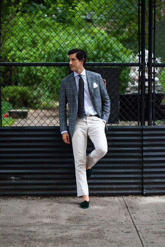 Beige Chinos Outfits: This pairing of a navy plaid blazer and beige chinos is a must-try casually smart look for any modern gent. Break up this getup by slipping into a pair of dark green velvet loafers.