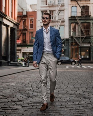 Blue Check Blazer Outfits For Men: This combo of a blue check blazer and grey chinos is undeniable proof that a safe ensemble can still be seriously sharp. A pair of brown suede tassel loafers immediately revs up the classy factor of any ensemble.