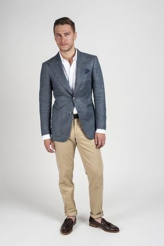 Men's Charcoal Blazer, White Dress Shirt, Khaki Chinos, Brown Leather Tassel Loafers