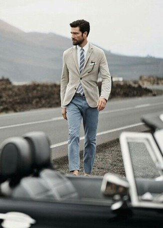 How to wear: tan blazer, white dress shirt, grey chinos, grey vertical striped tie