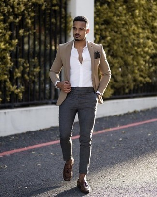 Brown Leather Tassel Loafers Outfits: Try pairing a tan blazer with charcoal chinos and you'll assemble a neat and polished getup. A pair of brown leather tassel loafers effortlessly levels up any outfit.
