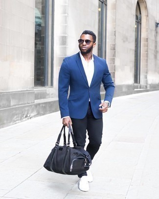 Black Chinos with Blue Blazer Outfits: For an ensemble that's worthy of a modern fashion-forward man and casually smart, team a blue blazer with black chinos. Want to break out of the mold? Then why not introduce white canvas low top sneakers to the equation?