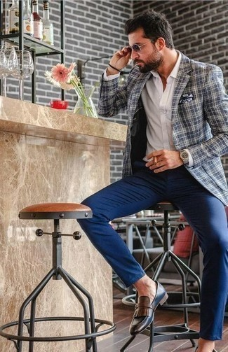 Bracelet Outfits For Men: If it's ease and practicality that you love in a look, wear a navy and white plaid blazer with a bracelet. Feeling inventive? Shake up this outfit by slipping into navy fringe leather loafers.